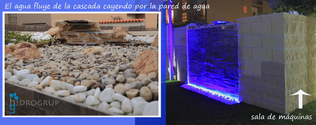 Pared de agua y cascada for Fuentes decorativas de pared